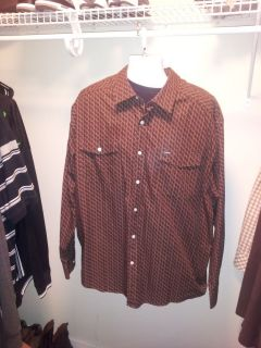 Mens Enyce Button Up Shirt Brown Long Sleeve 3XL