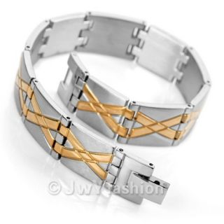 Mens Silver Gold Stainless Steel Bracelet Cuff Bangle VC780