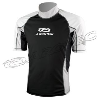 Aropec Short Sleeve Rash Guard Mens Surfer Swim Shirt XS 3XL Black