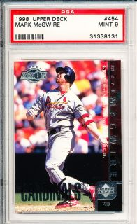 1998 Upper Deck 454 Mark McGwire St Louis Cardinals Baseball PSA 9
