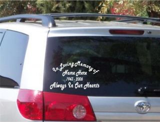 In Loving Memory of Vinyl Sticker Window Decal Memorial