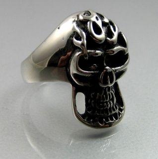 Biker Heavy Stainless Steel Skull Big Teeth Mens Ring
