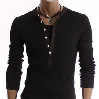 Mens Casual Line Patch Cotton T Shirts Black D15