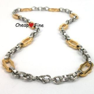 21 Mens Gold Black Stainless Steel Necklace Chain H3010