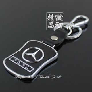 Auto Car LOGO Mercedes Benz logo METAL Leather KEY CHAIN RING C180
