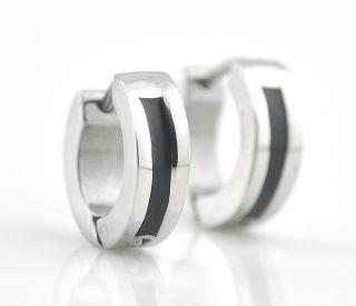 Mens Silver Black Huggies Hoop Stainless Steel Earrings 187
