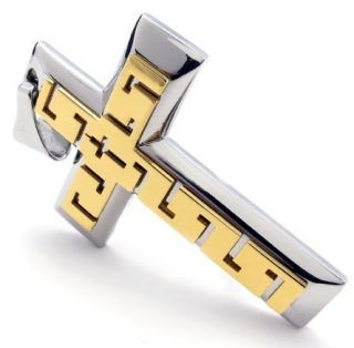 Stainless Steel Gold Cross Mens Pendant Necklace
