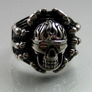 Unique Biker Stainless Steel Spider Skull Mens Ring