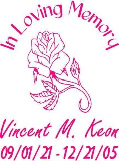 Memory Rose Flower Window Decal Sticker Personalized Memorial
