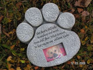 New Pet Paw Memorial Stone Monument Dog Cat Holds Photo