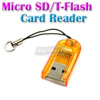 USB 2 0 T Flash TF Micro SD Memory Card Reader Writer Yellow