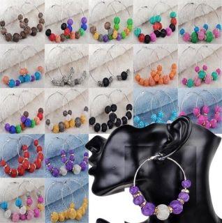Poparazzi Resin Rhinestone Mesh Ball Beads Bling Hoops Earrings