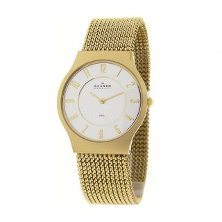 Skagen Gold Tone Stainless Steel Mesh Mens Watch 233LGG3L