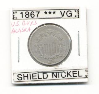 1867 FIVE CENTS UNITED STATES MINTED SHIELD NICKEL COIN 28 890 500