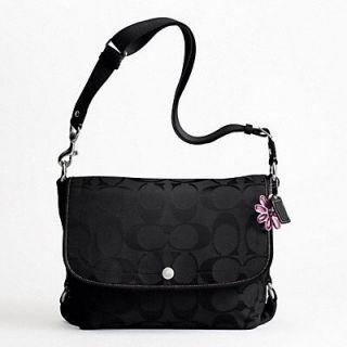 Coach Kyra Signature Nylon Crossover Messenger Bag Black