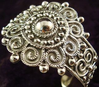 TAXCO MEXICAN STERLING SILVER BEADED BEAD SCROLL BRACELET MEXICO