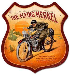 The Flying Merkel Vintage Motorcycle Shield Metal Sign