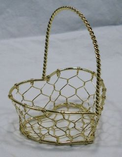 Small 4 inch Metal Goldtone Mesh Gift Basket Valentines Day Engagement