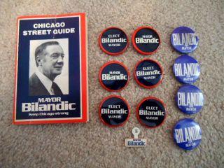 CAMPAIGN ELECTION BUTTON LAPEL PIN BACK CHICAGO MAYOR MICHAEL BILANDIC
