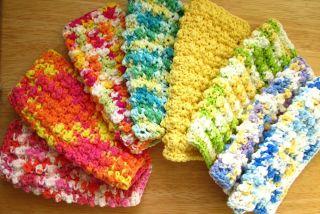 Bumpy Crochet Dishcloth Dish Cloth Christmas Pink Blue White