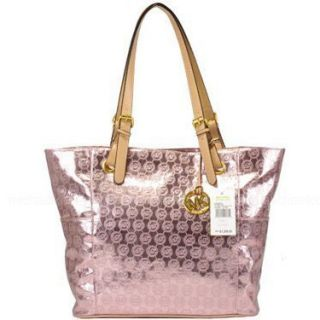 Michael Kors E w Signature Tote Handbag Monogrammed Rose Gold