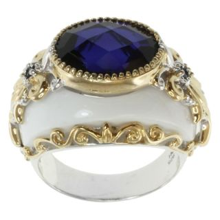Michael Valitutti Two Tone Silver White Agate and Tanzanite Quartz
