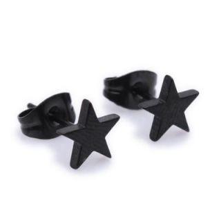 Dark Black Star Stainless Steel Stud Hoop Mens Earrings E80