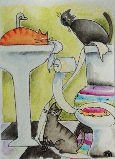 bathroom cats toilet paper folk art watercolor pen ACEO original