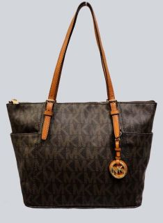 Michael Kors Jet Set MK Logo Zip Top Signature Tote Brown MSRP$248 00