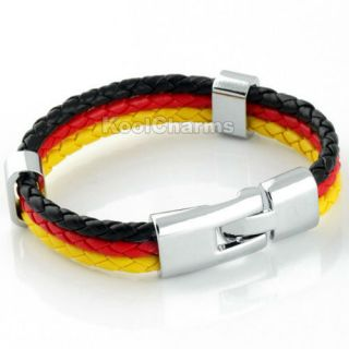 Mens Germany Flag Style Rope Surfer Leather Bracelet LB137