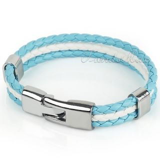 Unisex Mens Light Blue White Braid Rope Argentina Flag Surfer Leather
