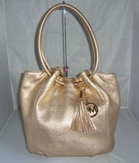 Michael Kors Gold Leather Ring Tote Bag Handbag Shoulder Bag Purse