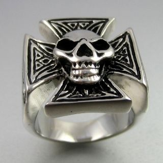Vintage Biker Stainless Steel Skull Cross Mens Ring