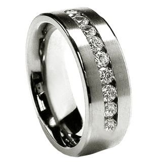 Nine CZ Stainless Steel 8mm Mens Wedding Bands Rings Size 9 10 11 12