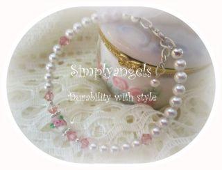 Simplyangels~ VICTORIAN ROSE swarovski baby childrens Christmas pearl