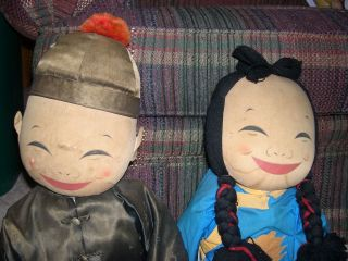 Michael Lee Pair of Chinese Cloth Dolls Tagged Large Pair