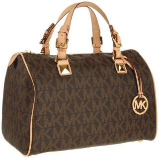 Michael Michael Kors Grayson Large Logo Satchel Brown