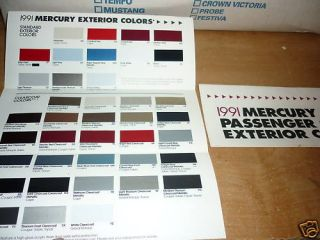 1991 Mercury Capri Cougar Tracer Color Chips Chart