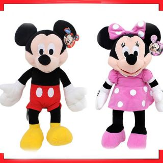 Disney Clubhouse MICKEY MINNIE MOUSE Pink Polka Dot Dress Bow Plush