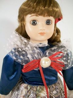 Exclusive Porcelain Doll Michelle 16 Big Eyes w Stand