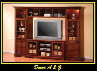 Merlot TV Stand Wall Unit w Lights Oak Finish 4 Pcs