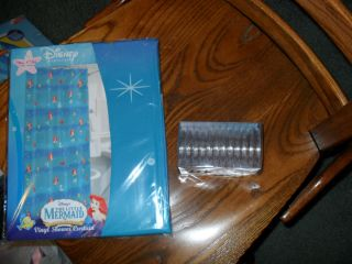New Little Mermaid Ariel Vinyl Shower Curtain and 12 Shower Ring Set
