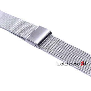 Mesh Stainless Steel Bracelet Watch Band Strap Interlock Straight End