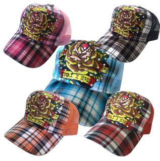 Tattoo Rhinestone Fashion Trucker Mesh Ball Cap Hat Rose