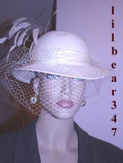Ladies Vintage Michael Howard Ivory Wool Veil Hat Satin Rhinestone