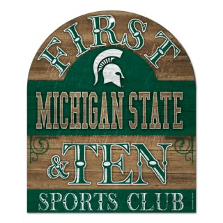 MICHIGAN STATE SPARTANS 1ST & TEN SPORTS CLUB WOOD SIGN 10X11 BRAND