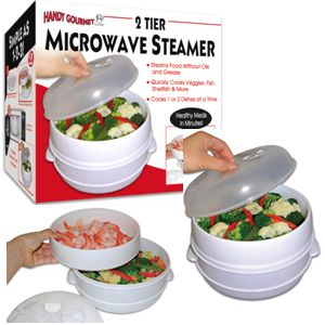Handy Gourmet 2 Tier Microwave Steamer Food Cooker