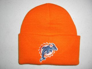 Miami Dolphins Orange Knit Winter Hat Fold Up Style Free US Shipping