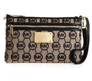 MICHAEL Michael Kors Handbag, Jet Set Monogram Large Wristlet Beige
