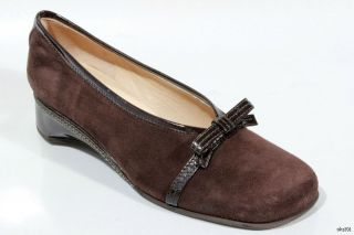 New $405 Rangoni Volpe Brown Suede Small Wedge Bow Shoes Italy